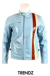 Jacket Glazed Cyclops Biker Cowhide Style Classic Blue Designer Men's Leather TqRnpgFww