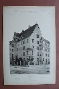 Jugendstil-Architektur-Anton-Wagner-1908-Muenchen-Romanstrasse-4-Wohnhaus-32x48cm