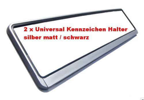2 x Universal Kennzeichenhalter Rahmen Nummernschildhalterungen Silber Schwarz