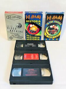 Def-Leppard-Rock-Band-3-VHS-Tape-Lot-Video-Archive-Historia-In-The-Round