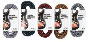 Pro-Solid-Braided-Tweed-Guitar-Lead-Cable-Wire-Instrument-Straight-Angled-Jack