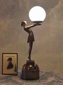 Détails sur Lampe Art Déco de Table Figure Féminine Écran Boule Chevet