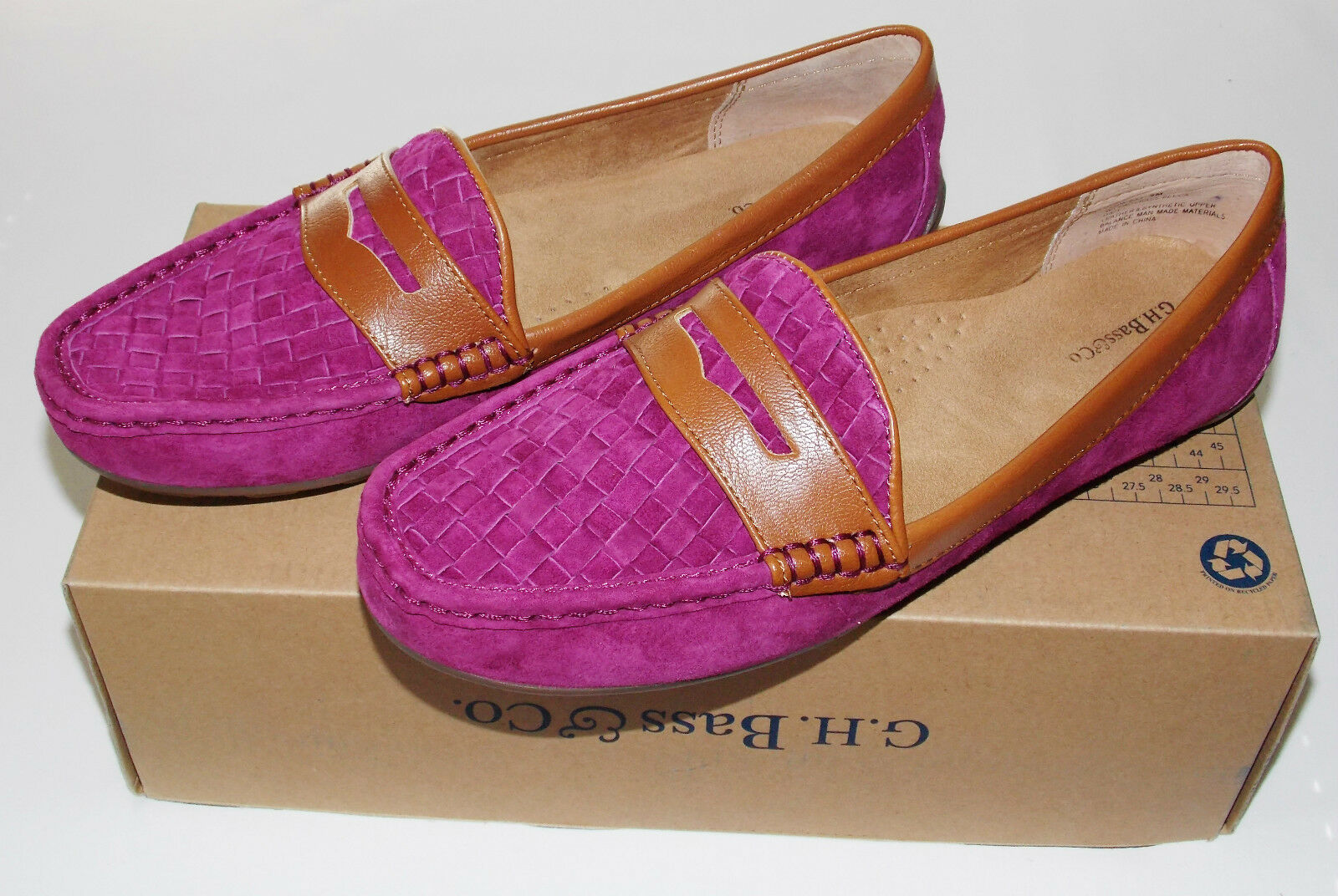 NWB G.H. Bass & Co. Becca Loafers Schuhes Schuhes Loafers 9 M Suede Leder & Synthetic Up Magenta ac2f74
