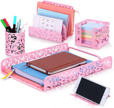 Jubtic 5 Pieces Cute Pink Desk Organizer Set For Desk Home Office Accessories D