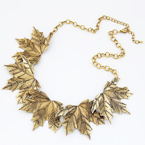 Fashion Women Vintage Maple Leaves Statement Bib Pendant Choker Necklace Collar