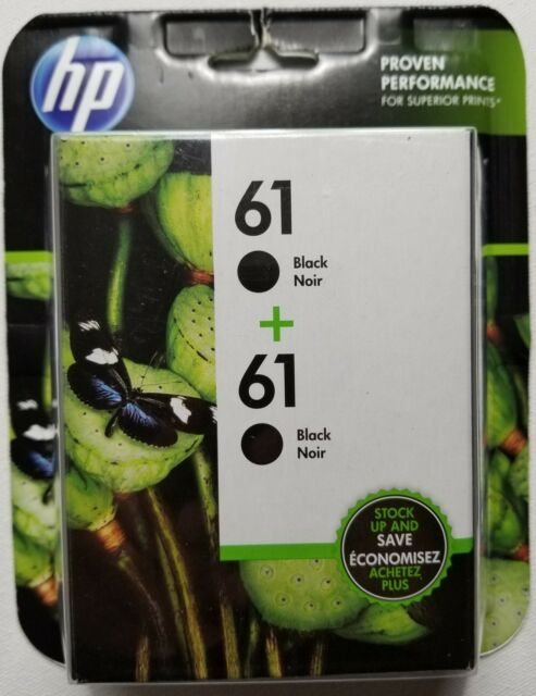 NEW IN BOX GENUINE HP 61 Black 2 Pack Ink Cartridges CZ073FN FREE SHIPPING