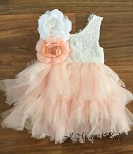 78c935c81c4 Baby Girls Flower Girl Lace Open Back Tulle Dress Birthday Party Gift  Wedding