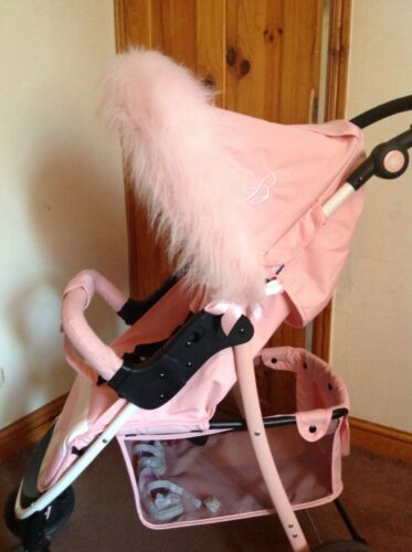 Pram Buggy FUN FUR Hood Trim fits My Babiie Journey Babystyle Icandy PINK WHITE