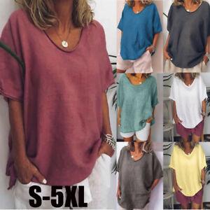 Women-Cotton-Solid-Blouse-Short-Sleeves-Plus-Size-Casual-Linen-Top-T-Shirt-S-5XL