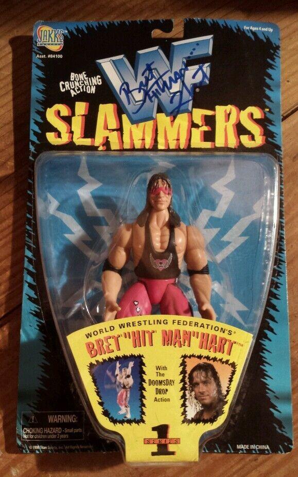 Bret Hart Autographed WWF Slammers figure. The Hitman  WWE. Rare Figure.