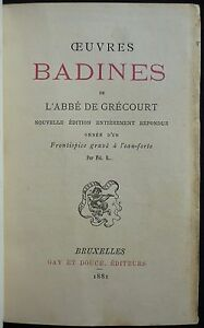 Abbe-de-GRECOURT-Oeuvres-badines-1881-Front-ROPS-Ex-n-Rel-signee