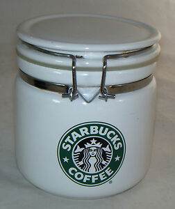 Image Is Loading Starbucks Round White Coffee Canister Green Mermaid Bee