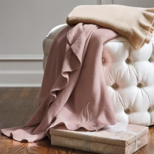 100% Cashmere Throw Blanket in Dusty Rose Pink Hint of Mauve w Ruffle New