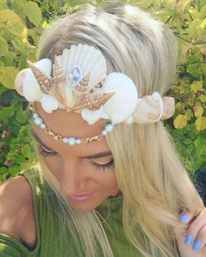 Diamond Pearl Sea Shell Mermaid Crown Hair Head Band Choochie Bride Boho Beach