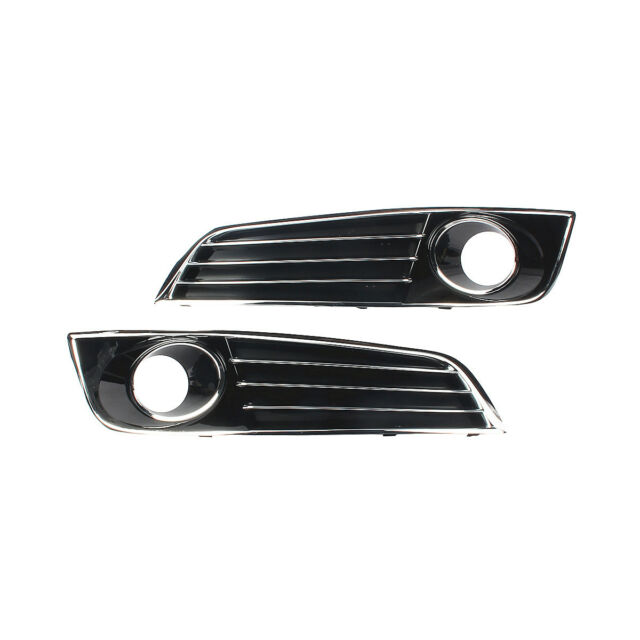 Pair 3 Bar Piano Paint Chrome Front Fog Light Grill Grille For AUDI A8 D4 11-13