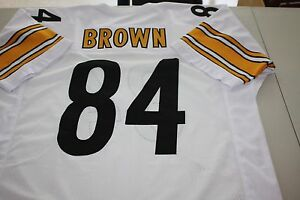 free shipping bc677 b45a9 Details about ANTONIO BROWN #84 SEWN STITCHED ROAD AWAY WHITE JERSEY PRO  BOWL WR SIZE XXL