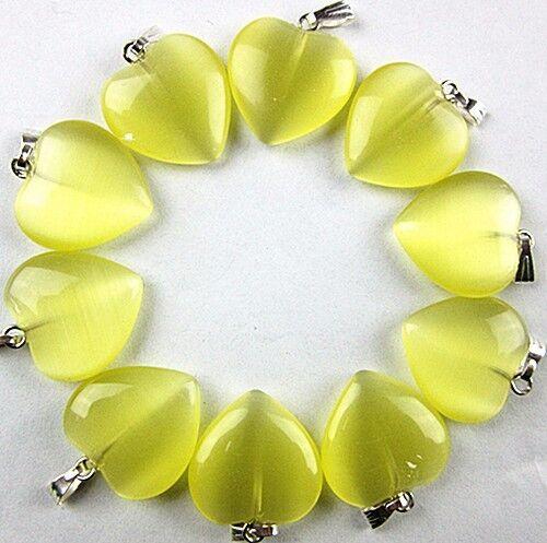 10PCS Beautiful unique yellow cat eye gemstone carved heart pendant bead VK1742