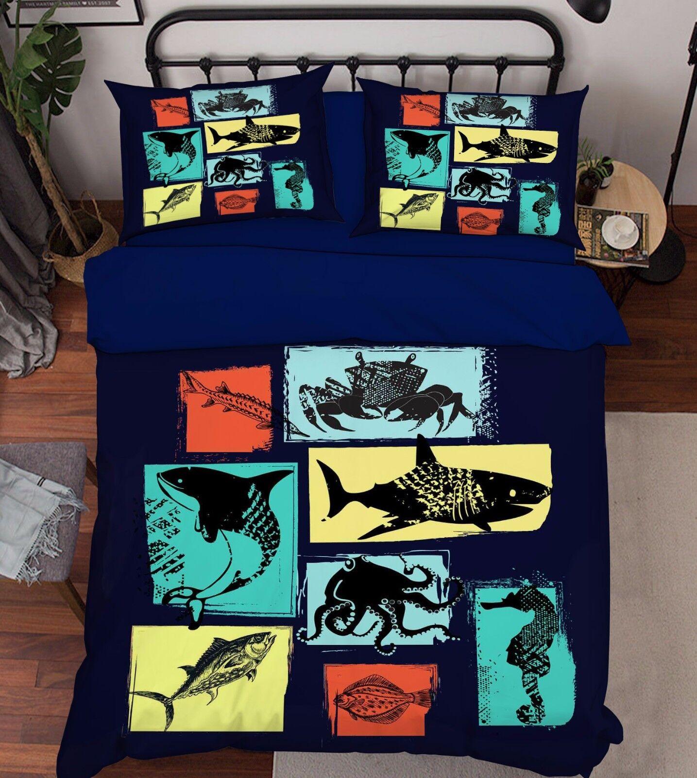 3D Ocean Fish Painting 52 Bett Pillowcases Quilt Duvet Startseite Set Single Königin CA