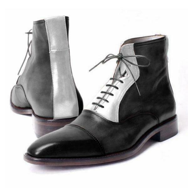 Handmade Men Two tone Ankle high Stiefel, Men ankle ankle ankle lace up Stiefel, Men Stiefel dae801