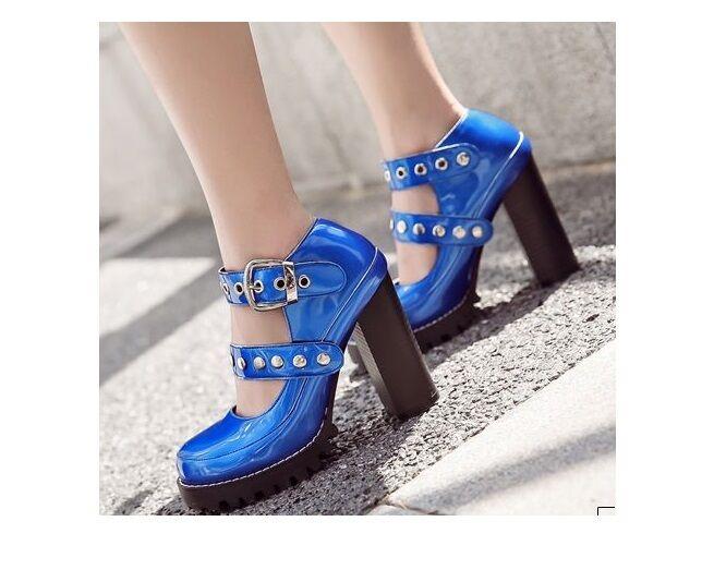 Bottes basses bleu comme électrique électrique comme talon carré 10.5 comme bleu cuir 36022e