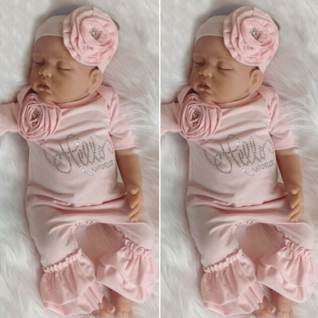 UK Newborn Baby Girl 3D Flower Ruffle Romper Jumpsuit Overall Headband Clothes