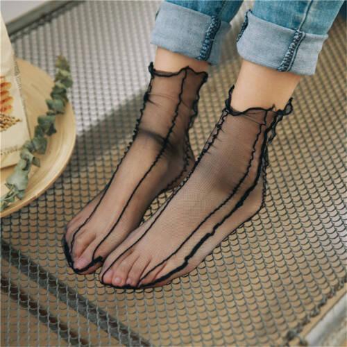 Vintage Women Fishnet Mesh Ruffle Short Ankle High Socks Lace Short Stockings