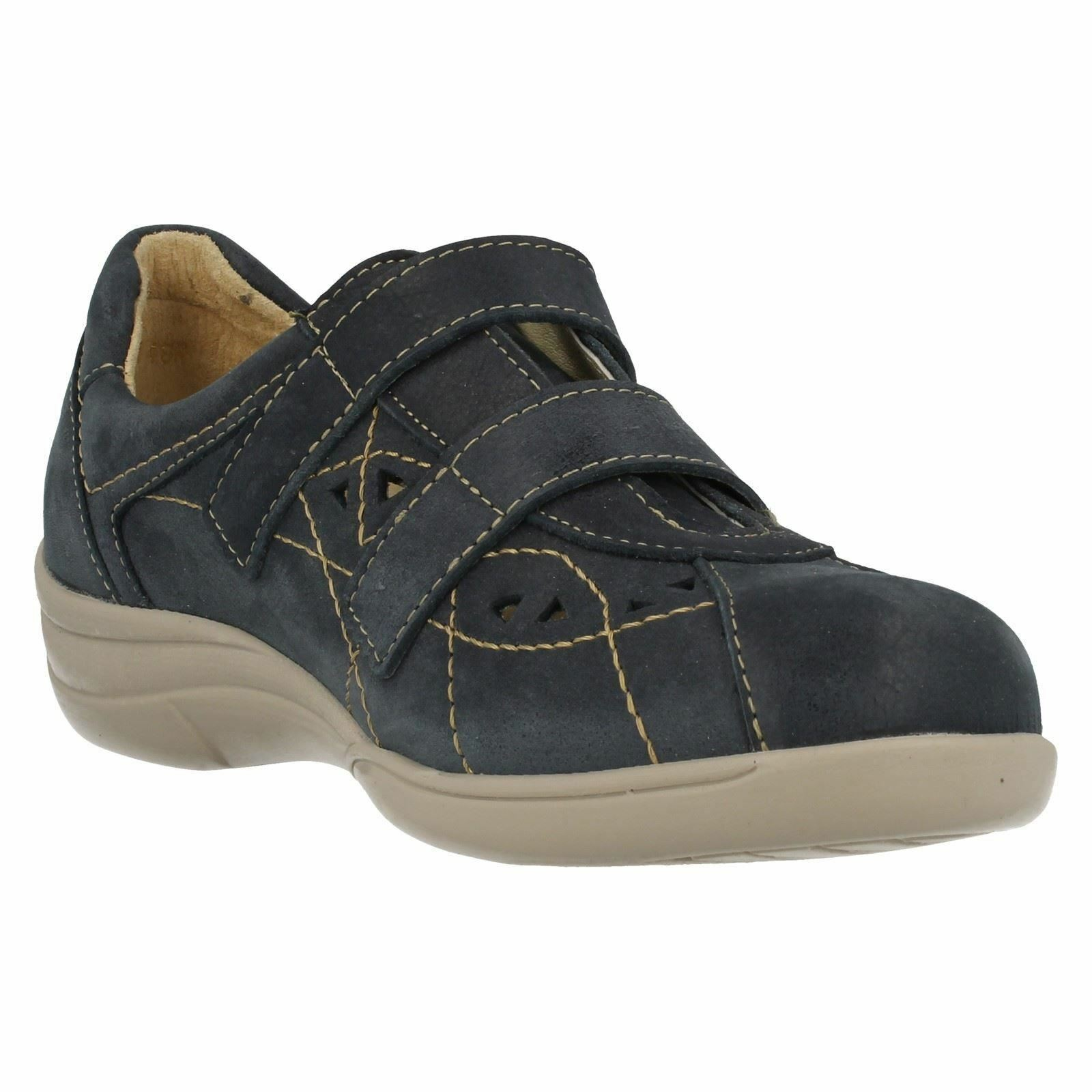 Easy B by DB Cynthia Ladies Navy Air Cooled Cooled Cooled Wide Fit Leather shoes E-3E, V fit 9d8d47