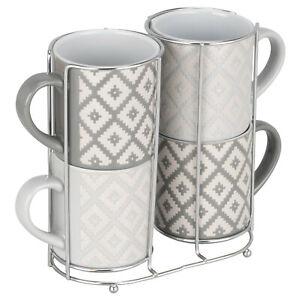 New Set Of 4 Large Jumbo Stacking Tea Coffee Mugs Grey Geometric Chrome Holder