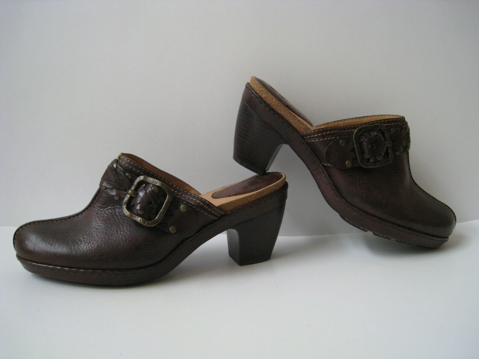 FRYE CANDICE WOVEN BROWN LEATHER STUDDED CORK FOOTBED CLOGS 3.5  HEEL US 11 HOT