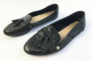Women's ALDO Black Leather Flat Loafers
