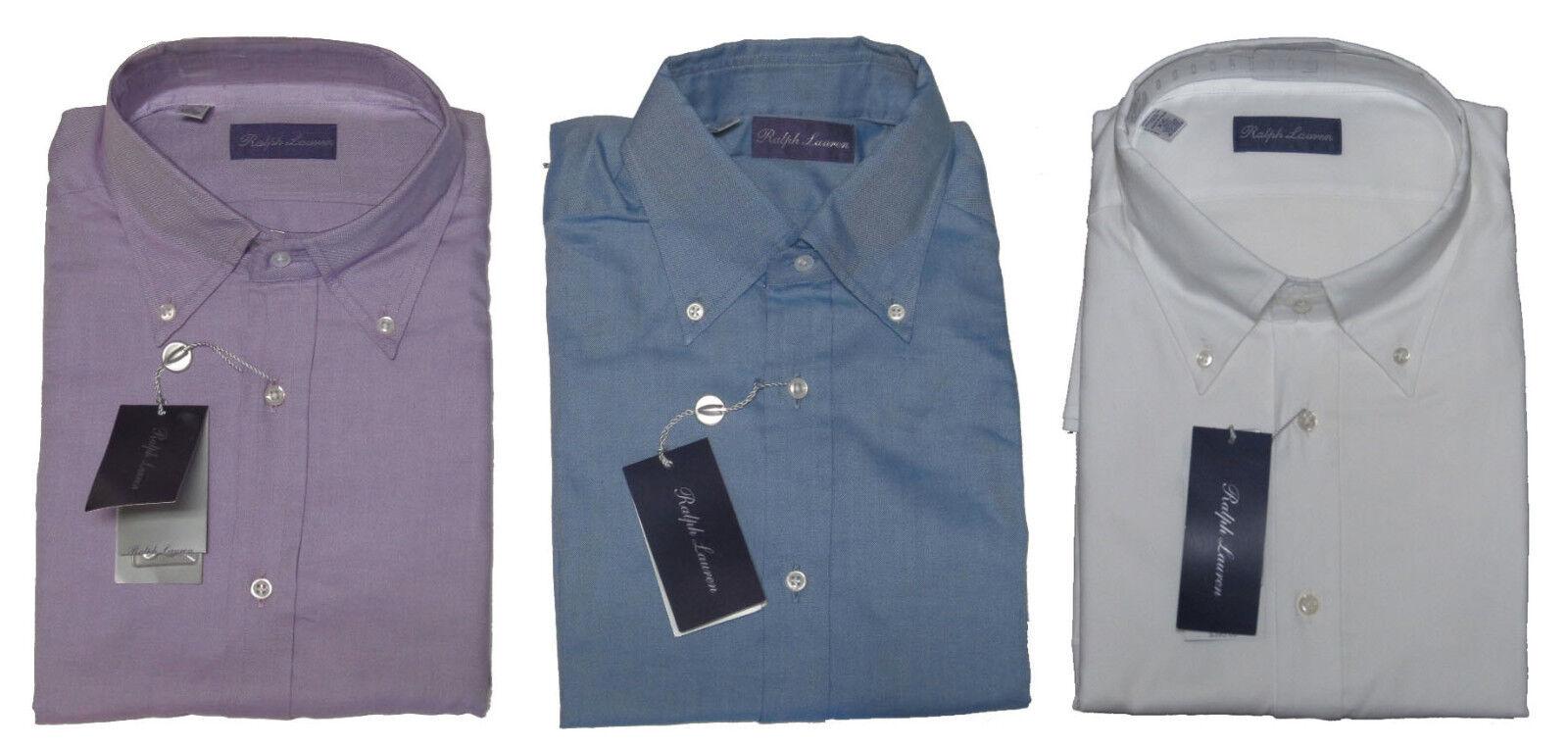 Ralph Lauren lila Label   Herren Button Down Solid Blau Weiß Dress Shirt