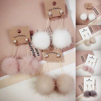 Womens Fashion Unique Jewelry Soft Fur Ball Pom Pom Long Dangle Earrings