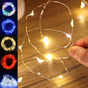 20 30 50 micro led string battery operated silver wire for Luci a led calde