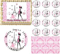 Pink And White Paris Damask Lady Poodle Eiffel Tower Edible Cake Topper Image