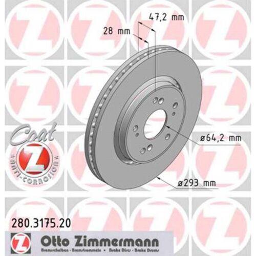 2 Zimmermann Bremsscheiben Honda CR-V III IV RE 1.6-2.4 293mm belüftet vorne