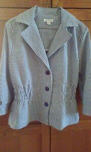 Joan-Rivers-Blue-White-Striped-Jacket-Size-Medium-Light-Weight-3-4-Sleeves