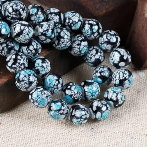 8mm 10mm Round Imitation Ceramic Coated Glass Loose Beads Jewelry Making Craft