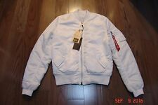 ALPHA INDUSTRIES Slim Fit White Bomber Jacket in Medium