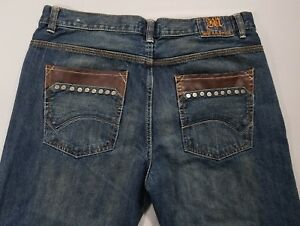 Marx-amp-Dutch-Mens-36X30-Inseam-29-034-Dark-Wash-Distress-Stylish-Jeans