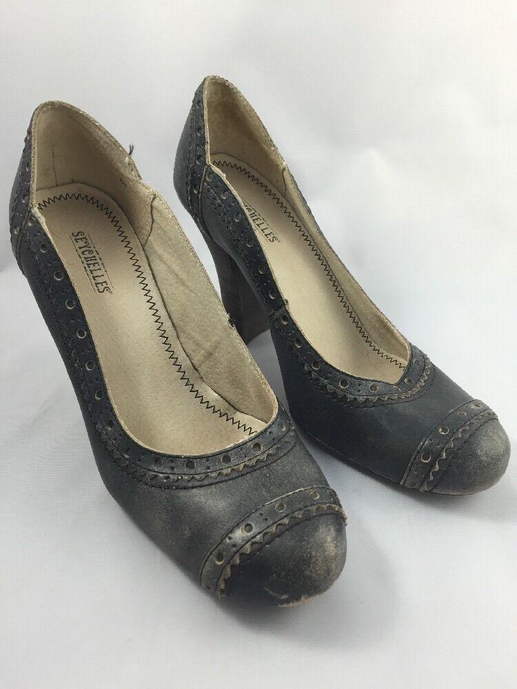 Seychelles Leder Heels Oxford Style Distressed Worn Pumps Größe 6.5