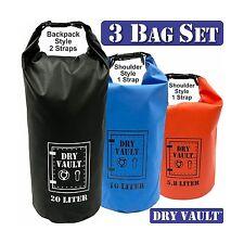 3 Bag Set - DRY VAULT  DRY BAG SETS  500D PVC Tarpaulin  20L 10L 5.8L - NEW