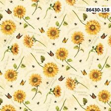 Follow The Sun Sunflowers on Cream cotton quilt fabric by Wilmington Sunflower T