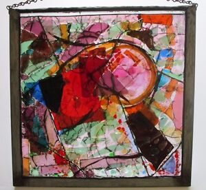 Details About Vintage Glass Fragment Sculpture Colorful Abstract Expressionism Window Hanging