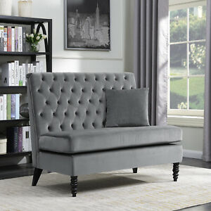 Upholstered-Bench-Sofa-Settee-Tufted-Lounge-Chaise-Couch-Furniture-Loveseat-Gray