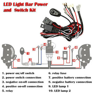 Universal LED Driving Light Bar Harness Kit with Mouse Style Switch on
