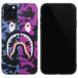 BAPE-Blue-Purple-Camo-Shark-Cover-Case-For-iPhone-11-Pro-Max-XS-XR-8-7-Plus-SE