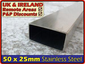 TUBO di acciaio inox rettangolare ║ 50 x 25 mm ║ sezione di ferro, Profilo, Tubi