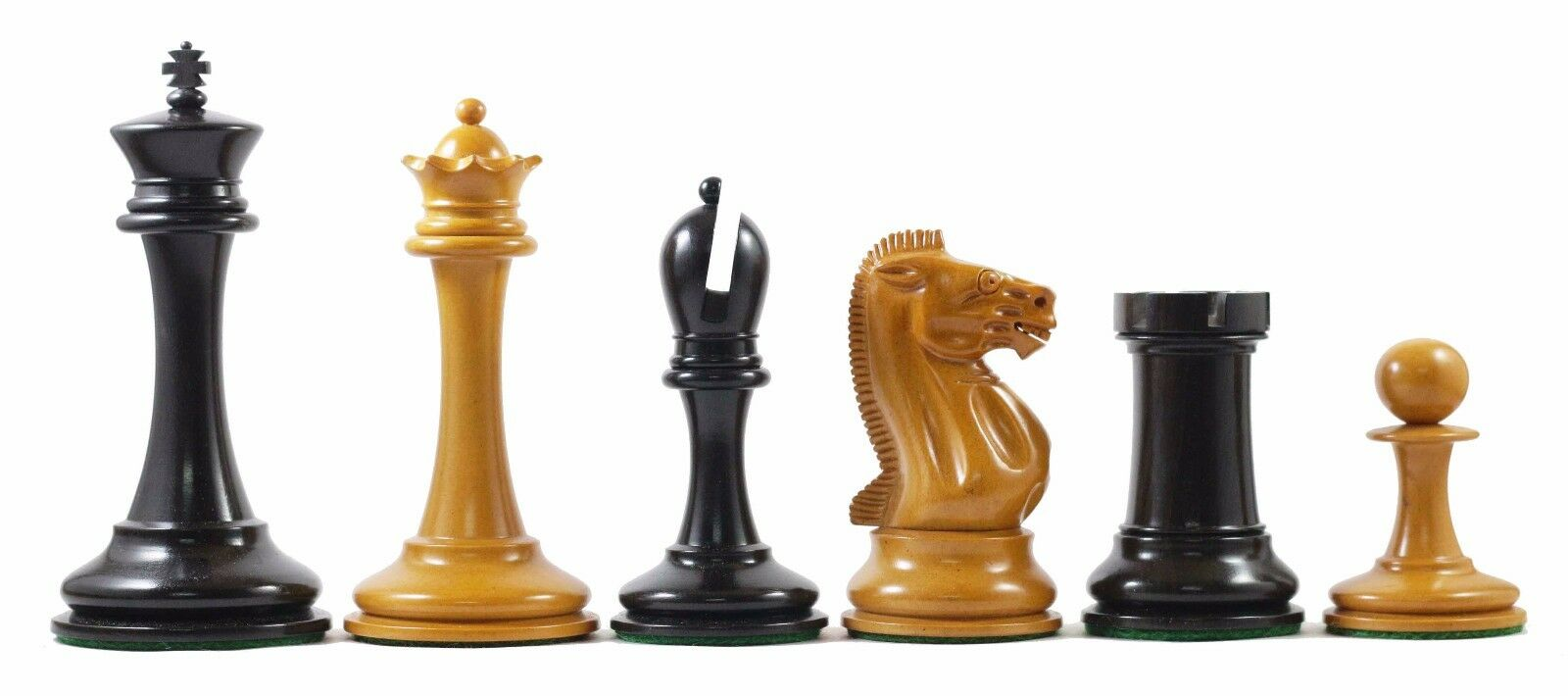 B & Company Reproduction Antiqued Premium Staunton 4.4  Ebony Chess Pieces