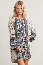PLUS SIZE 1XL UMGEE BLUE Stripes & Floral Tie Sleeves Neck Dress/Tunic SASSY SKY