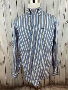 Facconable-Mens-Blue-Striped-Button-Down-Long-Sleeve-Shirt-Size-L